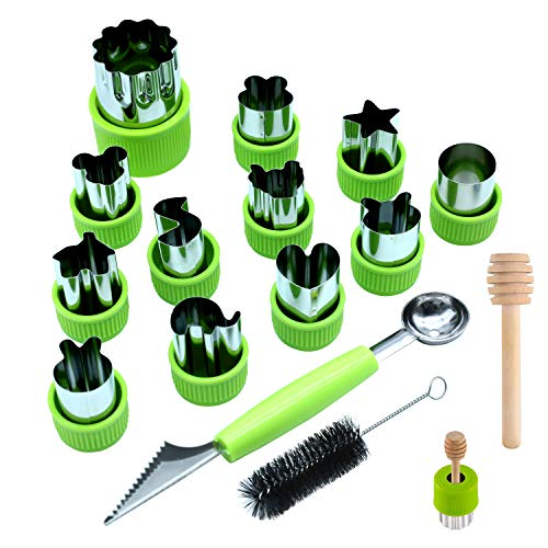 Kspowwin 12 Pieces Vegetable Cutter Shapes Set with Melon Scoop and Cleaning Brush, Mini Pie Cookie Cutters Small Fruit Mold Stamps for Kids Baking and Food Supplement Tools