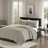 quilt clearance - Comfort Spaces Reversible King Quilt Set Taupe - 3 Piece Bayley Mini Quilt Set Ivory Reverse – Embroidery Stitches King Size Quilt includes 1 King Quilt/2 Shams