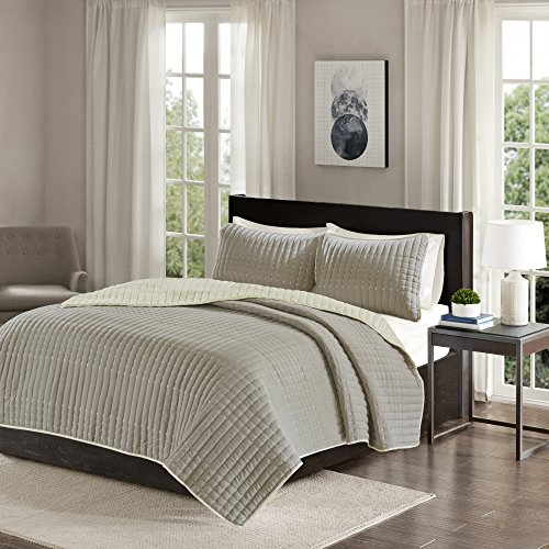 Reversible King Quilt Set Taupe - 3 Piece Bayley Mini Quilt Set Ivory Reverse – Embroidery Stitches King Size Quilt includes 1 King Quilt / 2 Shams by Comfort (2 Free Shams King Quilts)