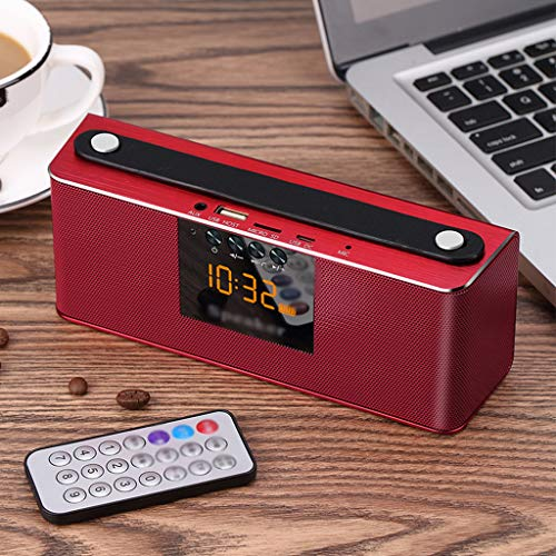 Mini Speaker Bluetooth Speakers Portable Outdoor Wireless Player & Alarm  Clock Tote Bag Design for Car and Home,Red