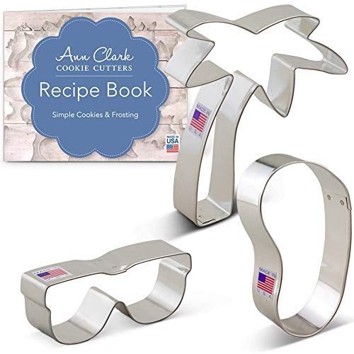 Beach Themed Cookie Cutter Set with Recipe Booklet - 3 Piece - Flip Flop, Sunglasses, and Palm Tree - Ann Clark - US Tin Plated Steel