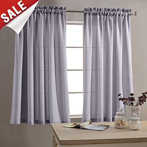 Tier Curtains Semi Sheer Short Curtains Kitchen Casual Weave Cafe Curtains Half Window Treatments 2 Panels 45