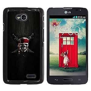 KOKO CASE / LG Optimus L70 / LS620 / D325 / MS323 / cráneo esqueleto pirata signo simbolo espadas / Delgado Negro Plástico caso cubierta Shell Armor Funda Case Cover