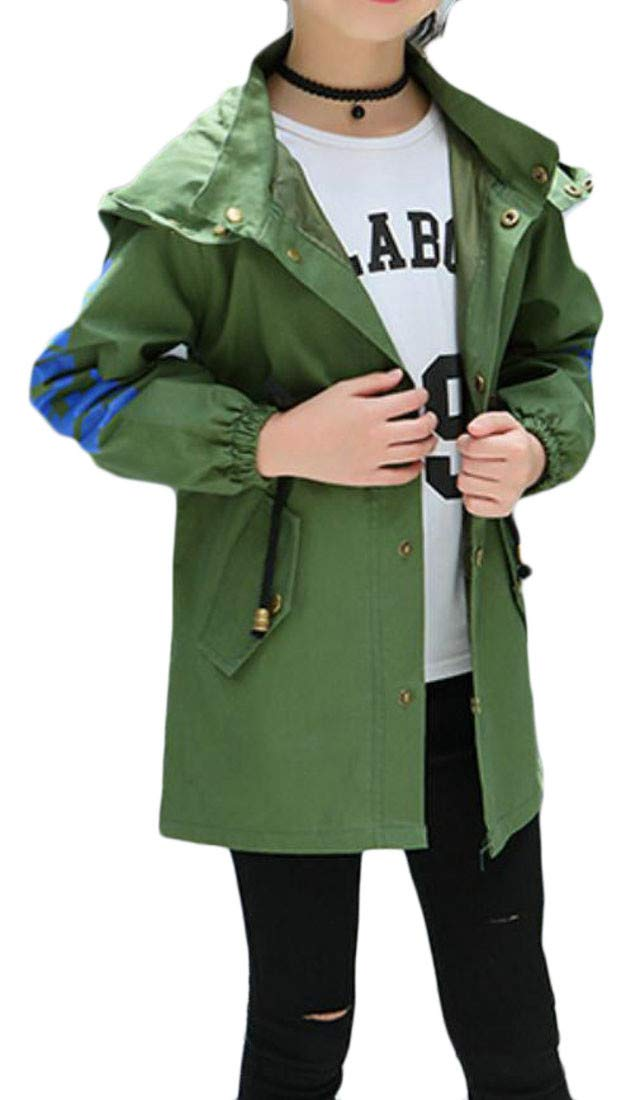 Cromoncent Girl Single Breasted Letter Print Hooded Windbreaker Trench Coat Army Green 6T