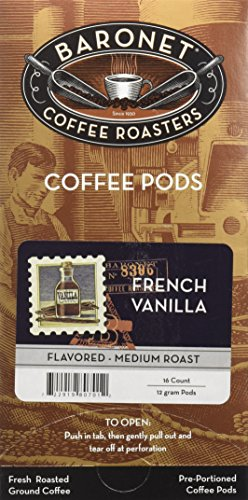 Baronet Coffee French Vanilla Mega Coffee Pods, 48 (Mega Pack Vanilla Flavor)