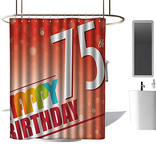 TimBeve Polyester Shower Curtain 75th Birthday,Old Age Seventy Five Years Old Party Invite in Retro Style Greeting Theme,Multicolor,Decorative Bathroom Curtain,Mildew Resistant -