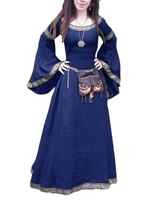 Vestido Largo De Renacimiento Medieval Manga Larga Disfraz ...