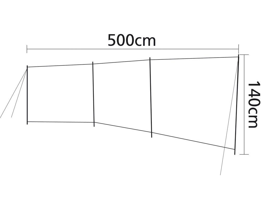 Incluye Tensor de Lino y{4} Barras de Metal Sesua Protecci/ón contra el Viento azul//500 x 130 cm DUNKKELGRAU