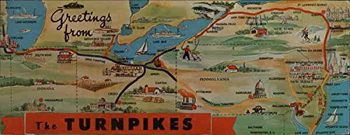 Map of Turnpikes of Eastern United States Maps Original Vintage Postcard (Turnpike Map)