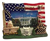 USA Flag , Washington Monument,U.S. Capitol, White House, IWO Jima Memorial and Presedential Seal Washington DC Decorative Picture Frame - Washington DC Souvenirs