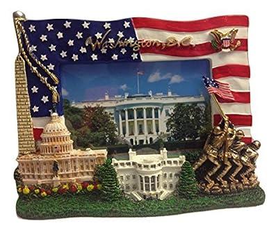 USA Flag , Washington Monument,U.S. Capitol, White House, IWO Jima Memorial and Presedential Seal Washington DC Decorative Picture Frame - Washington DC Souvenirs