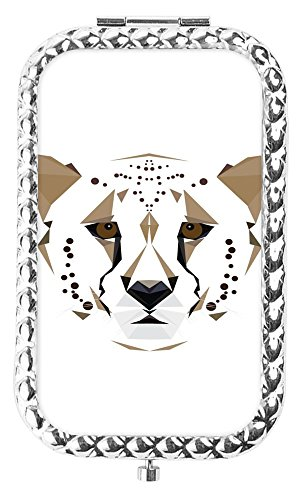 Memoly Portable Fodable Vanity Mirror, Cheetah Travel Beauty Cosmetics Double Sided Mirror Daily Use