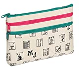 Mah Jongg Beige 3 Zipper Mah Jong Purse for Mahjong Card