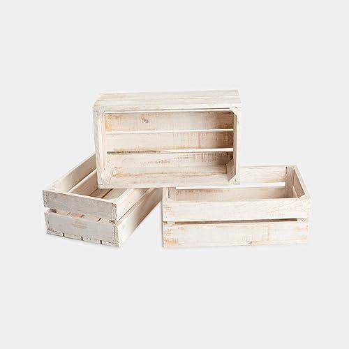 navidad Rebajas ofertas conjunto 3 cajas cajón madera blanca decapada 50x30x17, ideal para decoración, ordenar: Amazon.es: Handmade