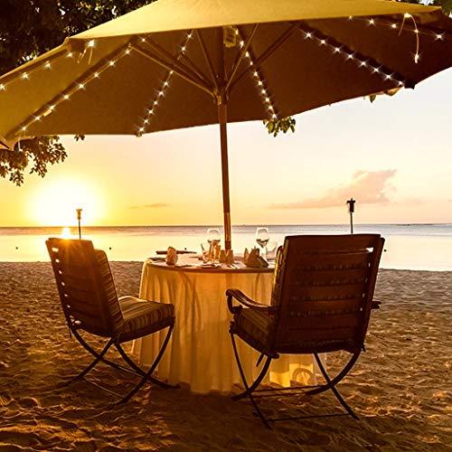 Iusun Solar Umbrella Lights String Outdoor Decorations Beach 8x1.4 Meters 112 Lights Landscape Spot Lawn Garden Yard Patio Christmas Wedding Party Holiday New Year Ornament (B) ()