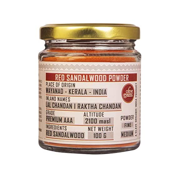 Clave Organic India   Red Sandalwood Powder   Raktha Chandan   From Wayanad - Kerala   Red Colour  100% Vegan   No