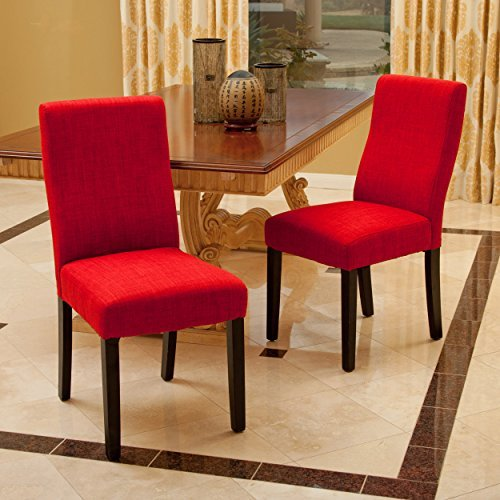 Christopher Knight Home 295176 Corbin Dining Chair (Set of 2), Red (Red Leather Contemporary Chair)