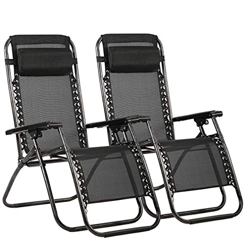 FDW Zero Gravity Chair Patio Lounge Recliners Adjustable Folding Set of 2 for Pool Side Outdoor Yard Beach, Black (Chairs Sale Plastic)