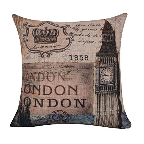 Touch Colourful 16x16 Inches Shabby Chic London Big Ben 1858 Burlap Cushion Covers Pillow Case for Sofa Halloween Thanksgiving Christmas Home Decoration Gifts -