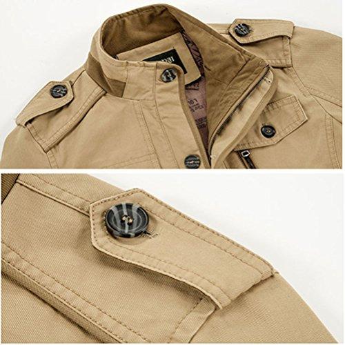 Manteaux Stand long Hiver Veste Chaud 5806 Automne Militaire Classique Collar Parka Coton Homme Outdoor Khaki Ws668 Mi nw0gSqURS
