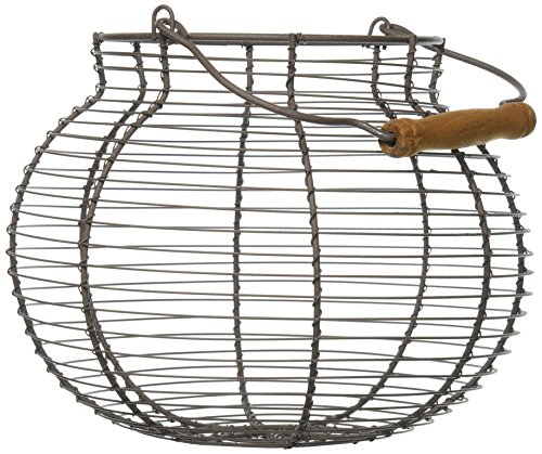 Your Hearts Delight Round Wooden Handle Wire Basket, - Wire Egg Basket