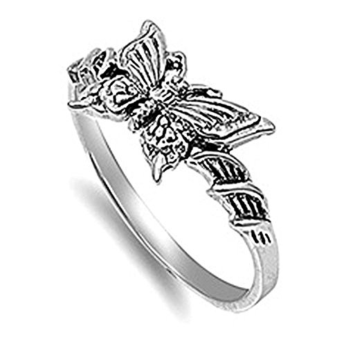 VE 01038 Sterling Silver Butterfly Band product image