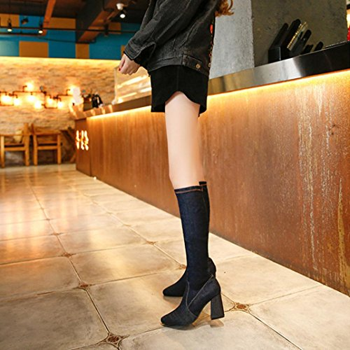 Fashion TM Pointed Heels Women's Slim Combat Boots Fashion Shoes High Blue Dark Colorful Toe Boots Denim wfqtgd0g