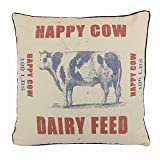 JuniperLab Shabby Chic Farmhouse Primitives Grain Sack Happy Cow Dairy Feed Throw Pillow Covers 16'' French Style