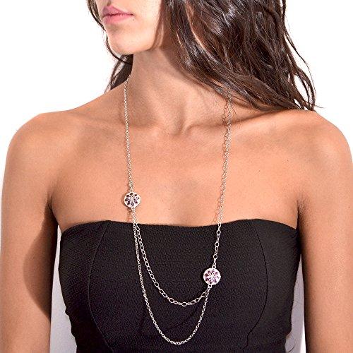 Tatitoto Collier Femme en Argent Fin 925/1000 Blanc avec Email Violet, Ligne Arabesque, Cm 50, 13 Grammes