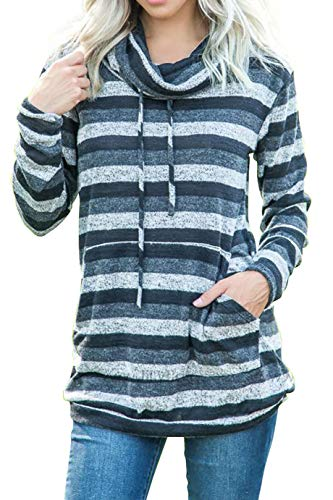 Womens Tops Pullover Long Sleeve Cowl Neck Drawstring Color Block Striped Sweatshirt Blouse Pocket Black M