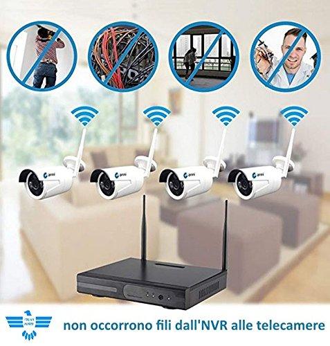 Portata 50 metri senza ostacoli APP Android//IOS telefonare se dubbi distanza prima dellacquisto ITALIAN ALARM Kit Videosorveglianza 2 Telecamere Wireless senza fili WIFI NVR per 4 telecamere