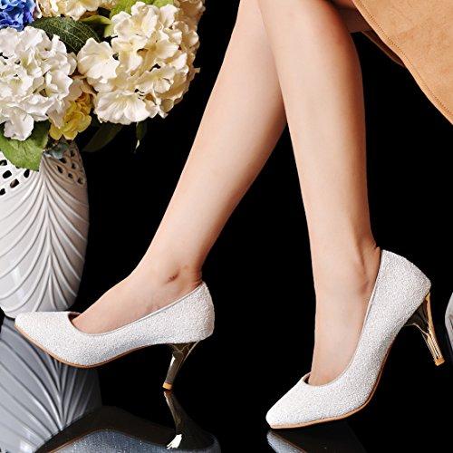 72dc7ba72469 ... AIYOUMEI Damen Spitz Glitzer Pumps mit 8cm Absatz Stiletto High Heels  Modern Pailletten Schuhe Weiß