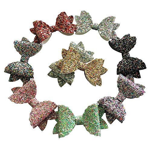 Faux Sparkles - Cute 3 inch Glitter Bows Hair Clips Faux Leather Sparkle Hair Bows Clips For Baby, Girls, Toddler 9Pcs