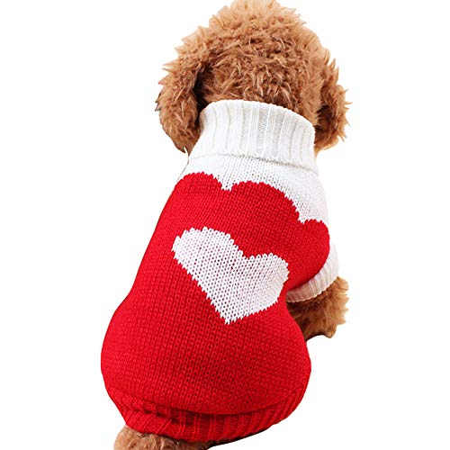 (CHBORCHICEN Pet Dog Sweaters Classic Knitwear Turtleneck Winter Warm Puppy Clothing Cute Strawberry and Heart Doggie Sweater (Red2, Medium))