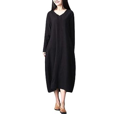 Polp Vestidos Manga Larga Mujer Vestido Lino Mujer Niña