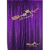 ShinyBeauty 4FTx6FT Purple Sequin Backdrops,48x72 Purple Sequin Backdrops For Wedding/Party/Decor