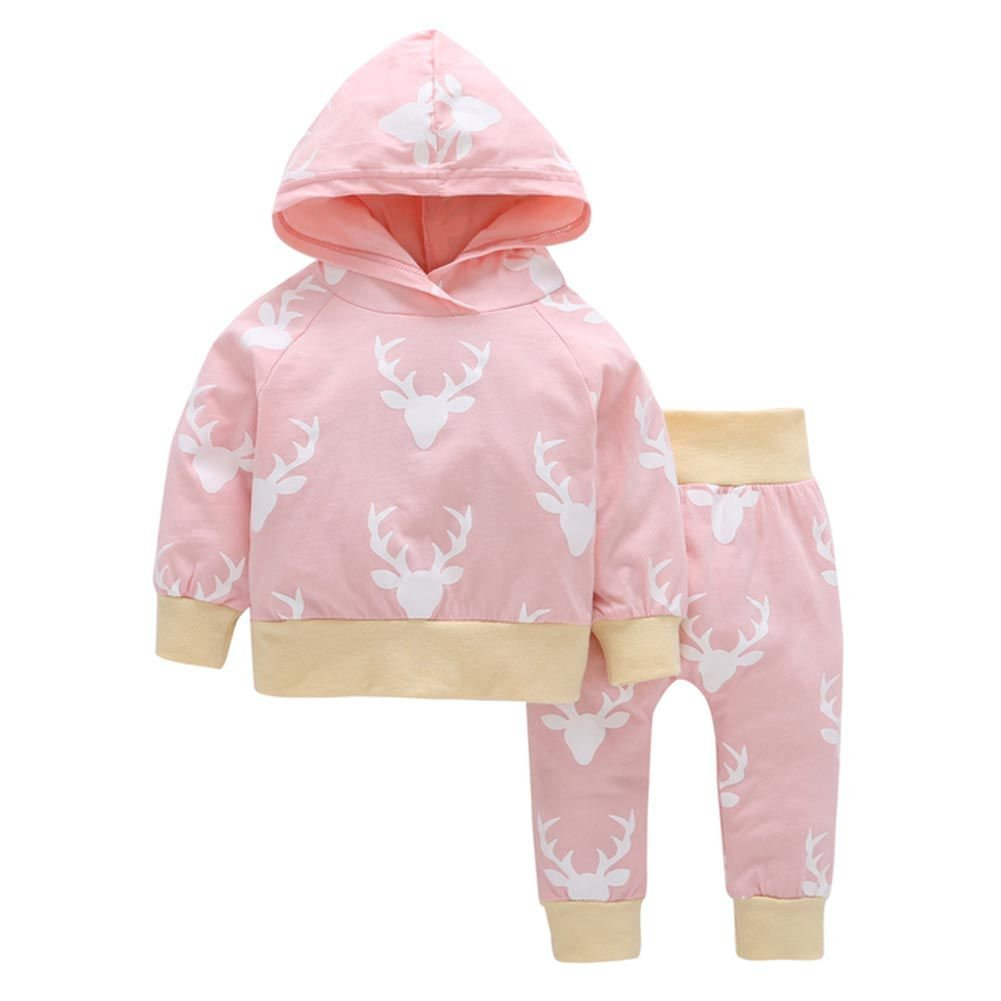 Brightup Baby Girl Tops and Trousers Set, Baby Girls Hoodies and Sweatpants Autumn Winter Gift