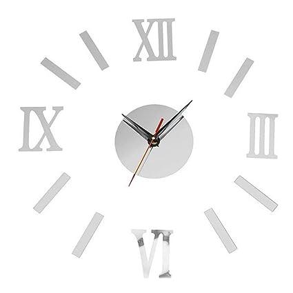 YNMB KS Acrílico Espejo de Pared Reloj de Pared Reloj Adhesivo Roman Reloj Digital Reloj Silencio