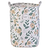 Cotton Foldable Waterproof Laundry Hamper Bucket Floral Prints Storage Dirty Clothes Toys for Kids