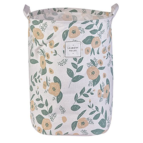 Cotton Foldable Waterproof Laundry Hamper Bucket Floral Prints Storage Dirty Clothes Toys for Kids by laamei