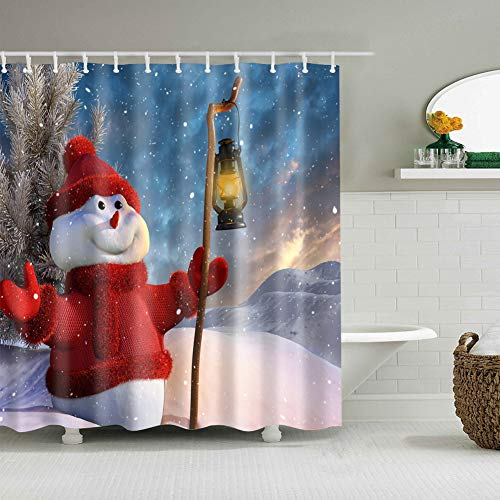 gongli3352 Winter Snowflake Pine Snowman Wearing Red Coat Hat Gloves Holding Street Lamp Standing on The Top of The Mountain Bathroom Accessories 70X70 inches + 12 Hooks + 12 Holes ()