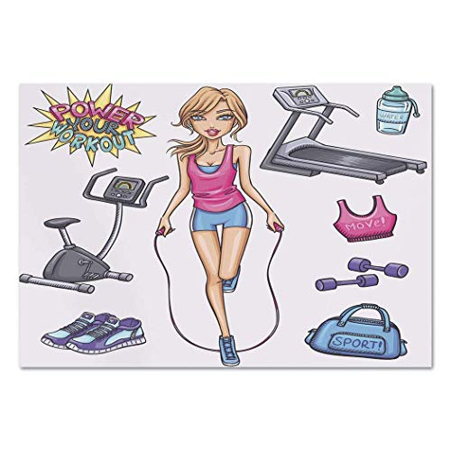 VAMIX Sticker [ Fitness,Beautiful Young Cartoon Girl Working Out at Gym Bike Treadmill Outfits and Quote Decorative,Multicolor ] Self-Adhesive Vinyl Wallpaper/Removable Modern -