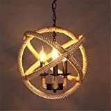 Baron W.H Industrial retro wind loft hemp rope chandelier music restaurant cafe creative bar bar personalized decorative lights, 35x130cm