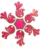 Icrafts India Diwali Rangoli Floor Decorations Acrylic Peacock Design with Studded Stones and Sequins, Traditional Festive Home Decor (Red)