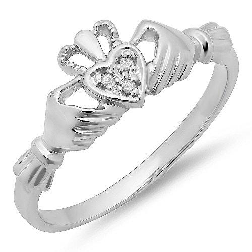 0.02 Ct Heart (0.02 Carat (ctw) 10k White Gold Round Diamond Bridal Promise Irish Claddagh Heart Shape Ring (Size)