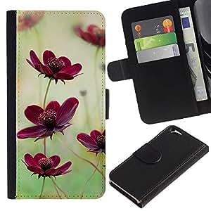KingStore / Leather Etui en cuir / Apple Iphone 6 / Campo de flores Naturaleza verde púrpura del trullo