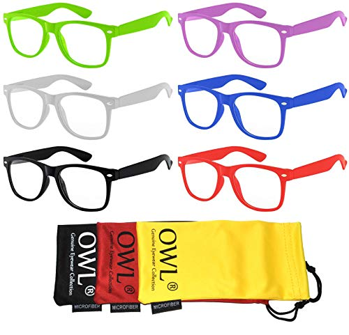 Retro Style Vintage Sunglasses with Clear Lens Colored Frame 6 Pairs for Mens or ()