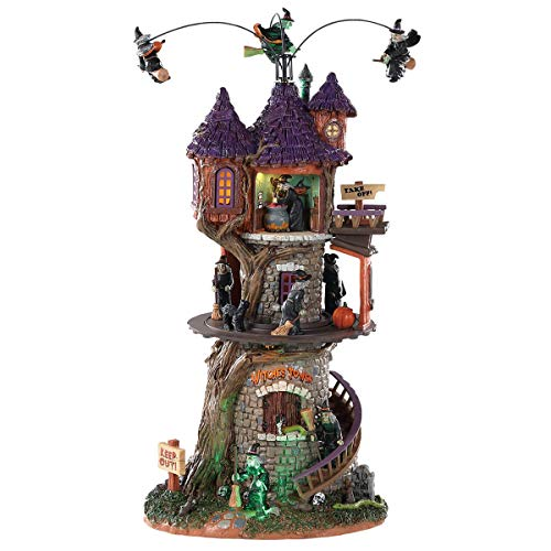 2018 Lemax Animated Halloween Figurine 6.10 x 5.12 x 11.69 Inches Polyresin Plastic Blend Multi-Color Witches Tower With Motion And Sound