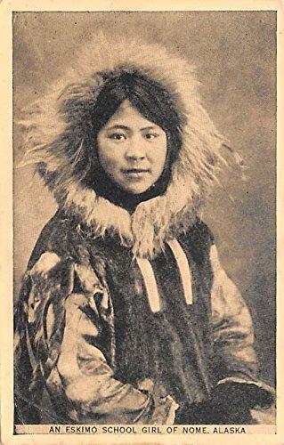 Eskimo School Girl Nome, Alaska postcard -