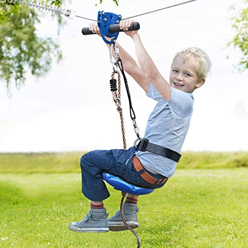 Jugader 160FT Zipline Kits for Backyard with Spring Brake, Cable Tensioning Kit, Detachable Trolley, Adjustable Safe Belt & Seat and 304 Stainless Steel Cable